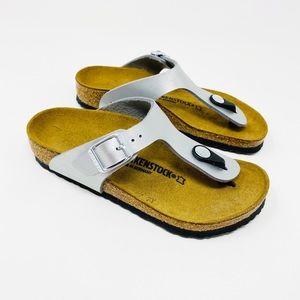 BIRKENSTOCK Gizeh Kids Silver Sandals 30 12 12.5